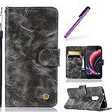 HMTECH HTC One X10 Hülle Vintage Einfarbige Ledertasche Blumen Prägung Flip Standfunktion Karten Slot Magnetverschluß Brieftasche Schalen für HTC One X10,Vintage Pure PU:Gray
