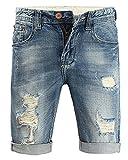 Minetom Moda Bermudas Shorts Hombre de Estilo Jeans Pantalón Roto Stretch de Vintage Slim Fit Vaqueros Cortos Azul 38