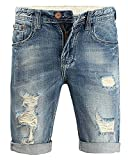 Minetom Herren Sommer Bermuda Jeans Cargo Shorts Vintage Freizeit Stretch Destroyed Used-Look Kurze Hose Denim Atmungsaktive Sporthose Blau 33W
