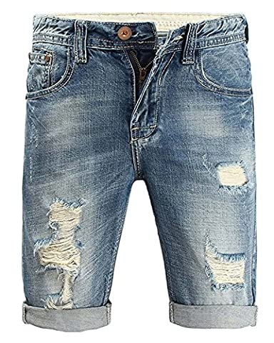 Minetom Mens Summer Casual Hole Ripped Stretch Roll Up Denim Shorts Bermuda Breathable Frayed Cuffed Distressed Short Jeans Pants Blue 36