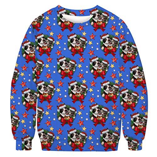 Aoogo Unisex Weihnachtpullover Sweatshirt 3D Druck Pullover Hoodie Langarm Bunte Rundhals Sweatjacke für Damen und Herren