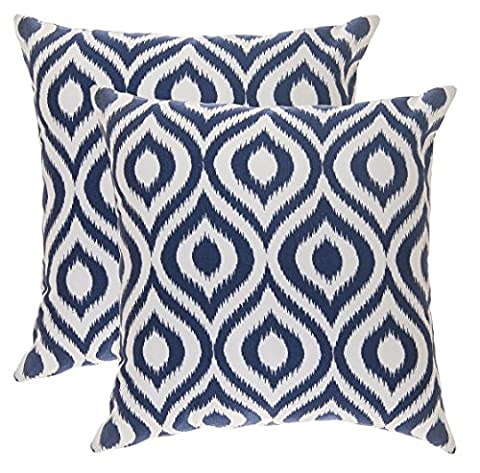 TreeWool, (Pack of 2) Cotton Canvas Ikat Ogee Accent Decorative Cushion Covers (50 x 50 cm; Navy Blue & White)