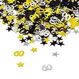 Oblique-Unique 60. Geburtstag Jubiläum Konfetti Gold Silber Schwarz Sterne Tisch Deko 500 Stück