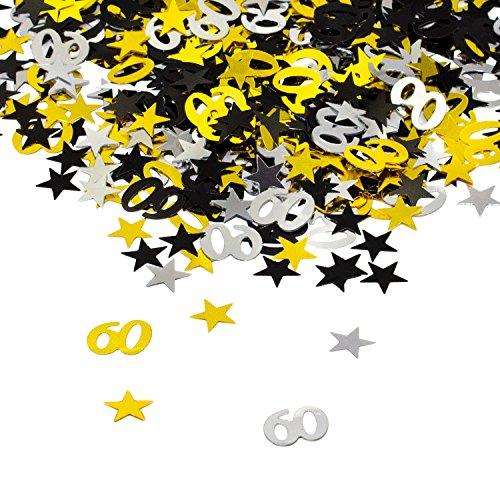 Oblique Unique® 60. Geburtstag Jubiläum Konfetti Gold Silber Schwarz Sterne Tisch Deko 500 Stück (Schwarz Und Silber 60. Geburtstag Dekorationen)