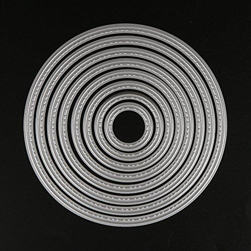Demiawaking 8Pcs Kreis Metall Form Schneiden Schablonen DIY Sammelalbum Dekor Papier Karten, Metall Buchzeichen , Metall Lesezeichen als Geschenk fuer Freunde