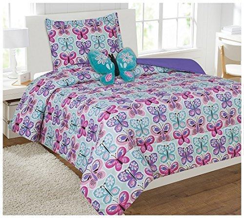annbetttuch Set Tröster Set mit Furry Schmetterling Kissen Schmetterling türkis lila pink weiß NEU, Mikrofaser, Purple, Turquoise, Pink,white, Twin Comforter ()