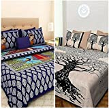 Jaipur Prints Cotton Combo Bed Sheet Rajasthani Jaipuri Fashion 100% Cotton Combo Set Of 2 Double Bedsheet With 4 Pillow Covers