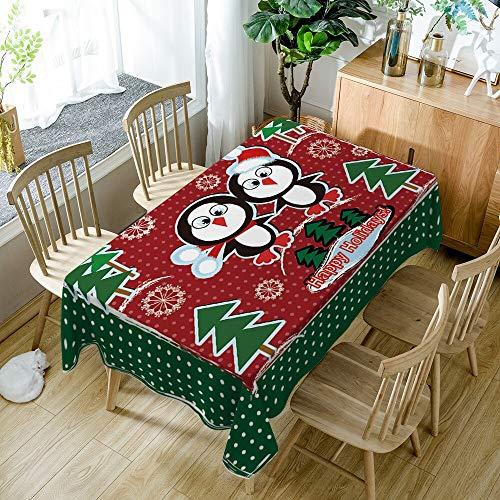 Wzwlh Nuevo año 3D Mantel patrón Navidad Lavable