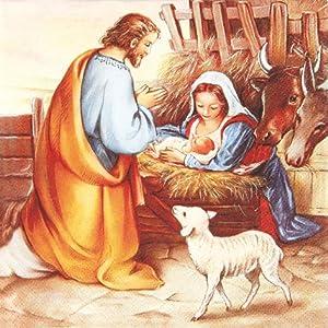 20 Servietten Jesus is born – Geburt Jesu / Weihnachten / Christlich 33x33cm