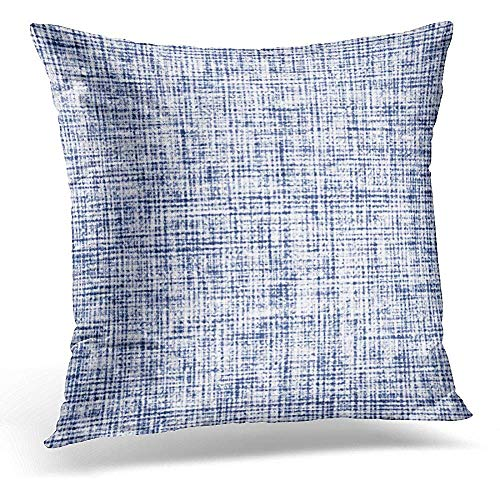 Canvas Washed Cap (FAFANIQ Throw Pillow Covers Blue Brushed Abstract Washed Indigo Canvas Navy Check Decorative Pillows Square Size 18 x 18 Inches Home Decor Pillowcase)