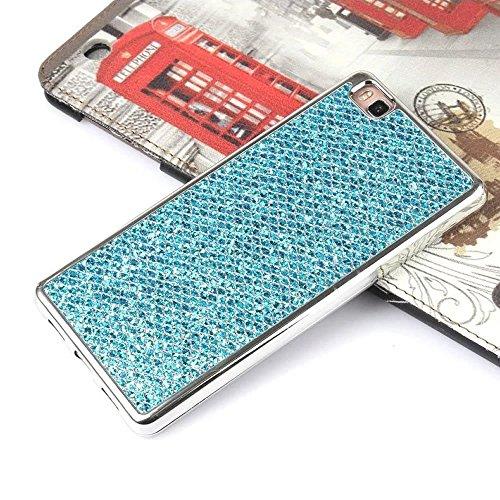 Cover iPhone 7,Custodia iPhone 7,Leweiany Moda Lusso 3D Belle iPhone 7 Cover Silicone Forma Geometrica con Brillantini Bling Glitters Paraurti in Placcatura TPU Morbida Antiuroto Ultra Sottile Flessib Blu