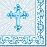Unique Party Supplies Strahlend Kreuz blau Religiöse Servietten, 16 Stück