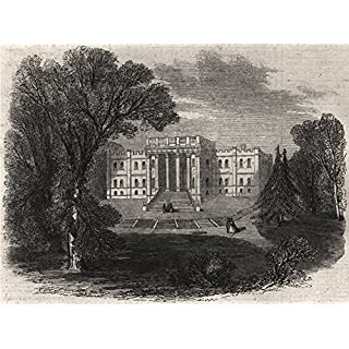 Kimbolton Castle, Hunts, the seat of the Duke Of Manchester - 1861 - old print - antique print - vintage print - printed prints of Huntingdonshire