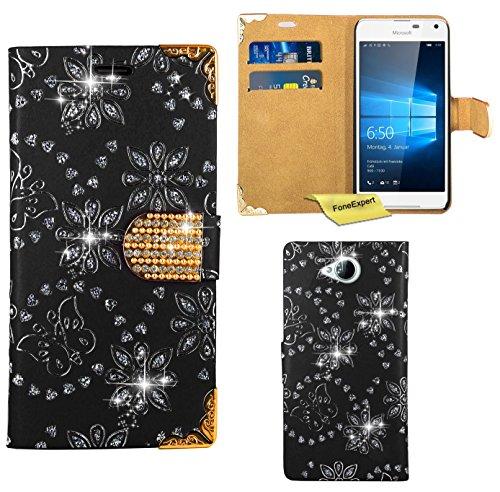 Preisvergleich Produktbild Microsoft Lumia 650 Handy Tasche, FoneExpert® Bling Luxus Diamant Hülle Wallet Case Cover Hüllen Etui Ledertasche Premium Lederhülle Schutzhülle für Microsoft Lumia 650 (Schwarz)