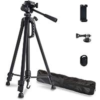 Phinistec 140cm Aluminium Dreibein Stativ Kamera für Handy, iPhone, DSLR, Kamera, Gopro mit Smartphone Halterung und…