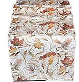 klassische Tischdecke 40x140 cm eckig Tischläufer pflegeleicht bügelfrei preiswert creme BLäTTER farbig Deko Herbst (Tischläufer 40x140 cm)