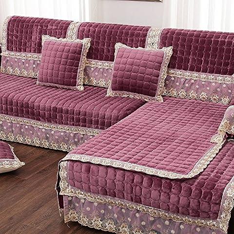 New day-Flanella cuscini del divano moda anti - skid divani peluche cuscini del divano di velluto Francia Lai set di asciugamani , a , 80*160cm+17cm [a]