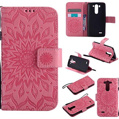 Guran® PU Leder Tasche Etui für LG G3 s (5 Zoll) Smartphone Flip Cover Stand Hülle und Karte Slot Case-rosa