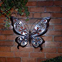 spot on dealz Solar Powered Metal Jewelled Butterfly Wall Art LED Light Garden Decor by Garden