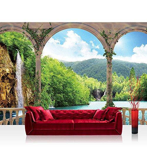 Vlies Fototapete 312x219cm PREMIUM PLUS Wand Foto Tapete Wand Bild Vliestapete - Wasser Tapete See Berge Wasserfall Bogen Bäume beige - no. 2109 (Berge Bogen)