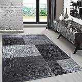 Modern designer Teppich für Wohnzimmer Esszimmer Gästezimmer kurzflor 3 D Motiv Teppiche kariert Vintage Schwarz Weis Grau 8001, Maße:80x300 cm