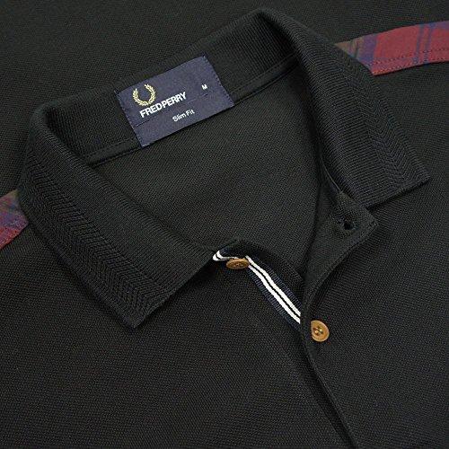 Fred Perry Lindsay Tartan Trim Polo in Black Black