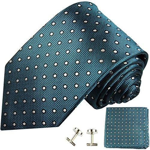 Paul Malone Krawatten Set 3tlg 100% Seide petrol gepunktet (Schmale Krawatte Extralange 165cm)