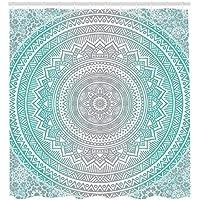 Abakuhaus Duschvorhang, Hell Blau Türkises Umbra Mandala Symmetrisches  Muster Design Druck Zen Kunstwerk Aqua Tone