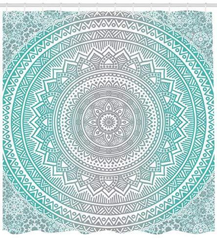 duschvorhang vinyl Abakuhaus Duschvorhang, Hell Blau Türkises Umbra Mandala Symmetrisches Muster Design Druck Zen Kunstwerk Aqua Tone, Blickdicht aus Stoff inkl. 12 Ringe für Das Badezimmer Waschbar, 175 X 200 cm