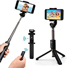 Bastone Selfie Mpow 3 in 1 Treppiede Bluetooth, Estensibile 360° Rotazione Selfie Stick con Bluetooth Controllo Remoto per iPhone 8/8 Plus/7, Android Saumsang S8 /Saumsang Galaxy S8, Google,Oneplus,Honor 8