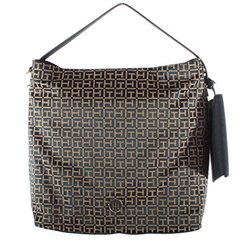 Tommy Hilfiger Handtasche TH Essential Hobo Jacquard 150 AW0AW03040 Midnight / Oatmeal 902 Damen (Handtasche Hobo Jacquard)