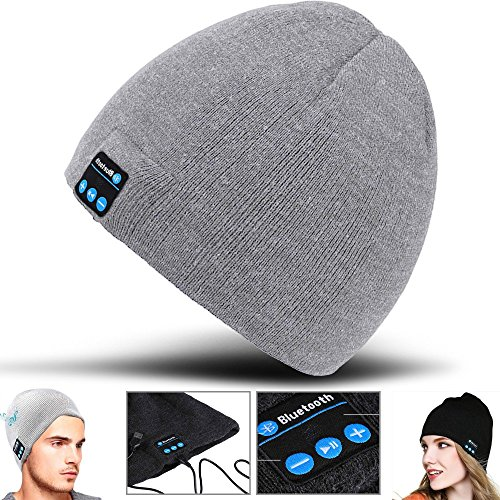 T-mobile Bluetooth Headset (2Ticks Hellgrau Kopfhörer weiche warme Strickmütze drahtloser Bluetooth Smart Cap Headset-Lautsprecher Mic Unisex Winter Fashion Spy T-Mobile Revvl Plus)