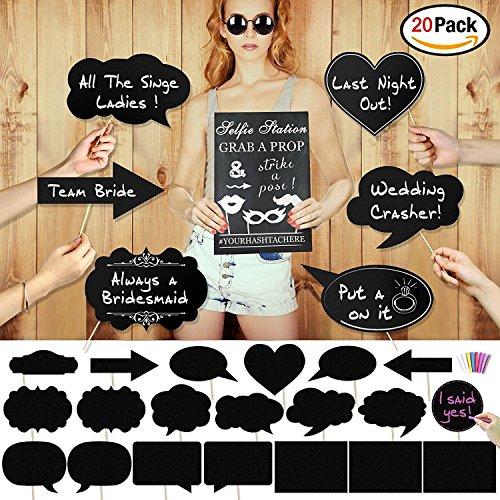 e DIY Tafel Dialog Photo Booth Props fotorequisiten fotoaccessoires Hochzeit mit bunten Kreide für Geburtstags Valentinstag Hochzeit Party Dekorationen (20Stk) (Tafel-hochzeits-zeichen)