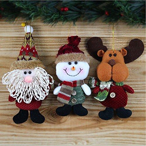 Dotech 3 pcs bambola di natale decorazione babbo natale/ pupazzo di neve/ renna peluche ragdoll albero di natale ornamenti decorazioni di natale feste 17cm*7cm(6.7''*2.7'')