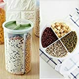 Anii 4 in 1 Transparent Sealed Cans Kitchen Sealed Jars Plastic Storage Bottles Storage Box for Food Cereals Grain 1500Ml 4 Sections 10X12X24Cm Sealed Container 1 pc Color As Availability Amazon Rs. 419.00