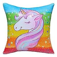 ICOSY Unicorn Mermaid Pillow Case Magic Reversible Sequin Cushion Cover Unicorn Cushions Reversible Sequins Decorative Cushion Covers 40x40cm
