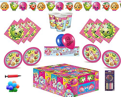 Shopkins Articles de Fête Vaisselle pour 16 convives Nappes Serviettes Tasses Assiettes Bannières Ballons & Pompe à Ballon