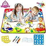 FishOaky Doodle Tappeto Magico, 4 Colori Aquadoodle Mat (86*57cm) con 3 Pennarelli Magiche/4 Stencil/1 Libro Acquatico Disegno/6 Stampi per Bambini di età Superiore ai 3 Anni