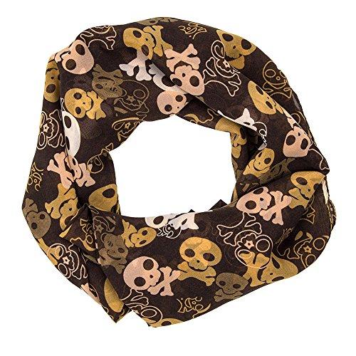 MANUMAR Loop-Schal für Damen | Hals-Tuch in braun mit Totenkopf Motiv als perfektes Frühling Sommer Accessoire | Schlauchschal | Damen-Schal | Rundschal | Geschenkidee für Frauen und Mädchen
