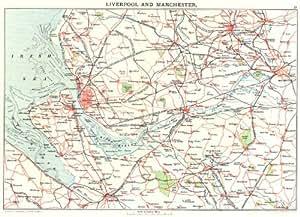 Merseyside) &: Manchester Liverpool Chester Bolton Warrington Wirral 1893Carte