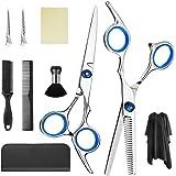 gracosy Hårklippning saxuppsättning 10 st frisörsax-kit, professionella hårklippningssaxar med uttunnande sax, hårrakknivarke