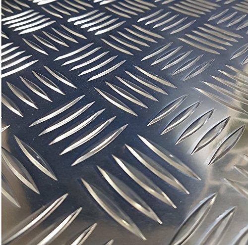 Preisvergleich Produktbild Aluminium Riffelblech Quintett 2, 5 / 4, 0mm stark 2500mm lang Breite Auswahl Tränenblech Warzenblech (2500mm x 750mm)