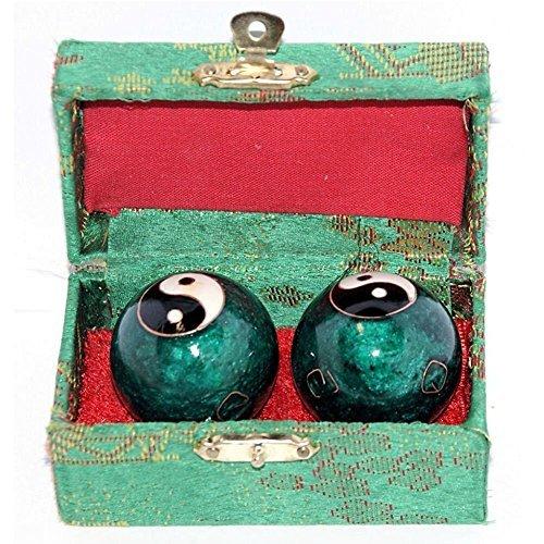 VERY100chinesische Baoding-Bälle, Gesundheits- / Übungs- / Stress-Bälle, 40mm-chromfarbene Chi-Bälle mit Box - Gesundheit Stress-bälle
