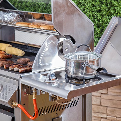 Premier 4 Burner Gas Barbecue - Stainless Steel, Side Burner, Cast Iron Grill & Hot Plate, Rotisserie
