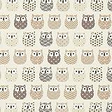 Fabulous Fabrics Baumwollstoff Cretonne Eulen - Creme/grau