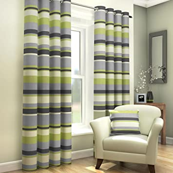 Green Curtains amazon green curtains : Green Grey Cream Striped Ring Top Fully Lined Pair of Eyelet Ready ...
