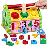 #3: FunBlast Shape Sorter Wisdom House with Pounding Bench Ball and Hammer for Kids,Educational Digital Number, Shapes and Symbol Cognition Wisdom House, Wooden Puzzle Game Toy