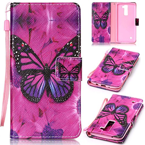 SmartLegend LG K8 Case , LG K8 Cover Strap Leather Wallet Case Colorful Arting Painting Pattern Design PU Bumper with Magnet Closure and Card Slots Holster Stand Function Smartphone Protective Case -Butterfly