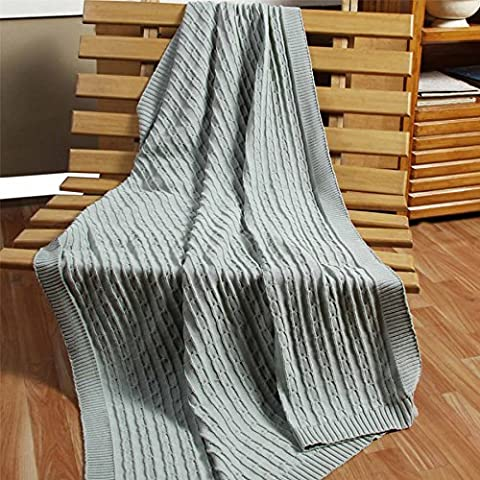 Homescapes - Cable Knit - Throw / Comforter Blanket - Duck Egg Blue - 100% Cotton - 130 x 170 cm - Washable Sofa Throw or Single Bed