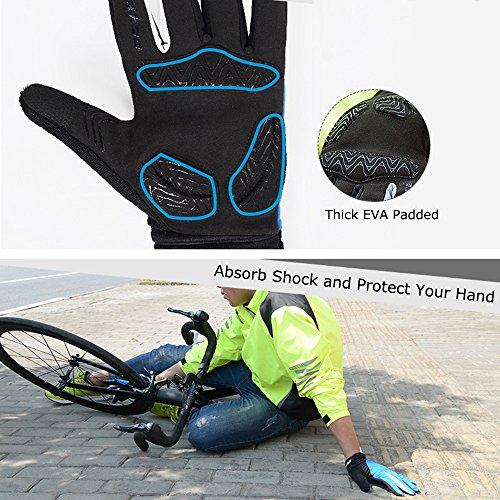 Winter Radfahren Handschuhe, Winddicht Smartphone Touchscreen Schock Beweis EVA Pad Rutschfeste Silikon Handschuhe w Klettverschluss Vollfinger Fahrrad Motorrad Outdoor - 5